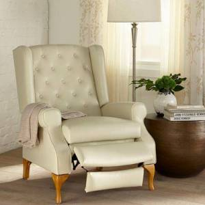BrylaneHome Oversized Queen Anne Style Tufted Wingback Recliner in Ecru by BrylaneHome   400lbs Weight Capacity