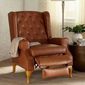 BrylaneHome Oversized Queen Anne Style Tufted Wingback Recliner in Camel by BrylaneHome   400lbs Weight Capacity
