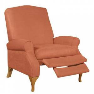 BrylaneHome Oversized Faux Suede Push Back Recliner in Sunrise Orange by BrylaneHome   350lbs Weight Capacity