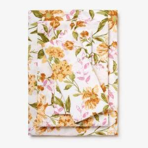 BrylaneHome 300-TC Cotton Printed Bed Tite Sheet Set by BrylaneHome in Yellow Floral (Size TWIN)