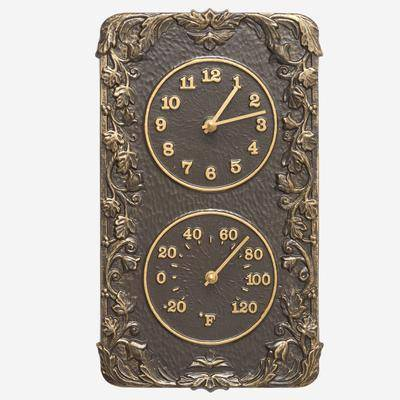 Whitehall Products Acanthus Combo Clock And Thermomte by Whitehall Products in French Bronze