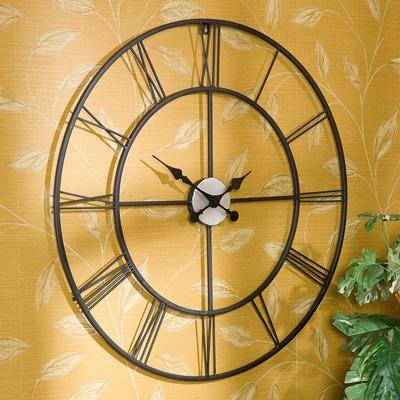 BrylaneHome Centurian Decorative Wall Clock by BrylaneHome in Black