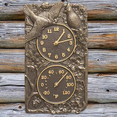 Whitehall Products Cardinal Combo Clock And Thermometer by Whitehall Products in French Bronze