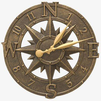 """Whitehall Products """"16"""""""" Compass Rose Clock by Whitehall Products in French Bronze"""""""