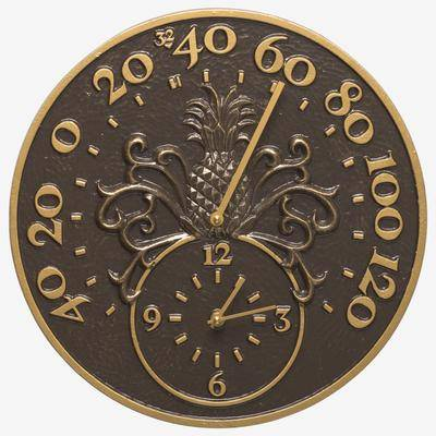 Whitehall Products Pineapple Thermometer Clock by Whitehall Products in French Bronze