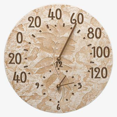 Whitehall Products Fossil Sumac Thermometer Clock by Whitehall Products in Limestone