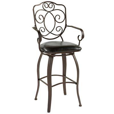 """BrylaneHome """"Crested Back Bar Stool, 30""""""""H by BrylaneHome in Powder"""""""