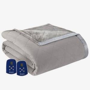Shavel Home Products Micro Flannel Reverse to Ultra Velvet Electric Blanket by Shavel Home Products in Smoke (Size QUEEN)