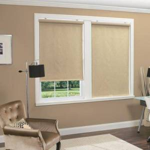 """BrylaneHome """"Cordless Linen Look Thermal Fabric Roller Shade, Size 39"""""""" W X 66"""""""" L in Natural by BrylaneHome"""""""