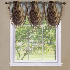 """Achim Home Dcor """"Wide Width Ombre Waterfall Valance by Achim Home Dcor in Chocolate (Size 46"""""""" W 42"""""""" L)"""""""