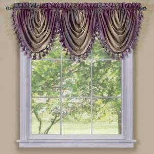 """Achim Home Dcor """"Wide Width Ombre Waterfall Valance by Achim Home Dcor in Aubergine (Size 46"""""""" W 42"""""""" L)"""""""