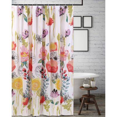 "Greenland Home Fashions ""Wide Width Watercolor Dream Shower Curtain by Greenland Home Fashions in White (Size 72"""" W 72"""" L)"""