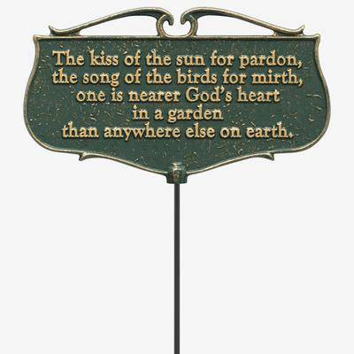 Whitehall Products The Kiss of the Sun Garden Poem Sign by Whitehall Products in Green Gold