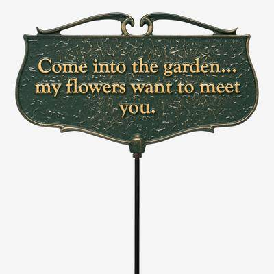 Whitehall Products Come Into The Garden My Flowers Want To Meet You - Garden Sign by Whitehall Products in Green