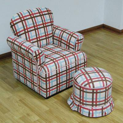 4D Concepts Rolled Arm Chair with Round Ottoman Plaid by 4D Concepts in Plaid