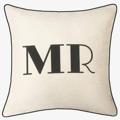 """Levinsohn """"Embroidered Appliqued """"""""Mr"""""""" Decorative Pillow by Levinsohn in Oyster Black"""""""
