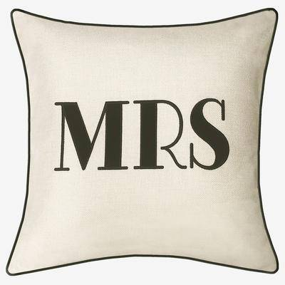 """Levinsohn """"Embroidered Applique """"""""Mrs"""""""" Decorative Pillow by Levinsohn in Oyster Black"""""""