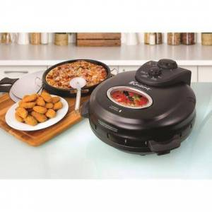 "Euro Cuisine ""Rotating Pizza Maker with Stone & Baking Pan, Size 12"""" in Black by Euro Cuisine"""
