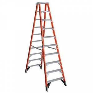 WERNER T7410 10 ft Fiberglass 375 lb Capacity Twin Stepladder IAA