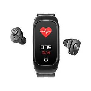 N8 Smart Wristband with Wireless Earbuds for Android/iPhone/Samsung Phones, Bluetooth Sports Tracker Support Heart Rate/Blood Pressure Measure