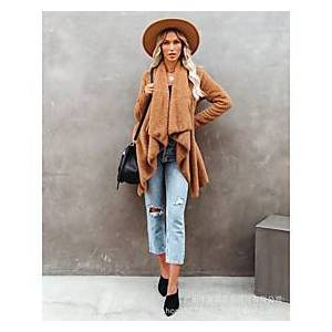 Women's Open Front Coat Long Solid Colored Daily Basic Brown S M L