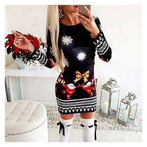 Women's Sheath Dress Short Mini Dress - Long Sleeve Print Fall Elegant Christmas Cotton 2020 Black S M L XL XXL 3XL