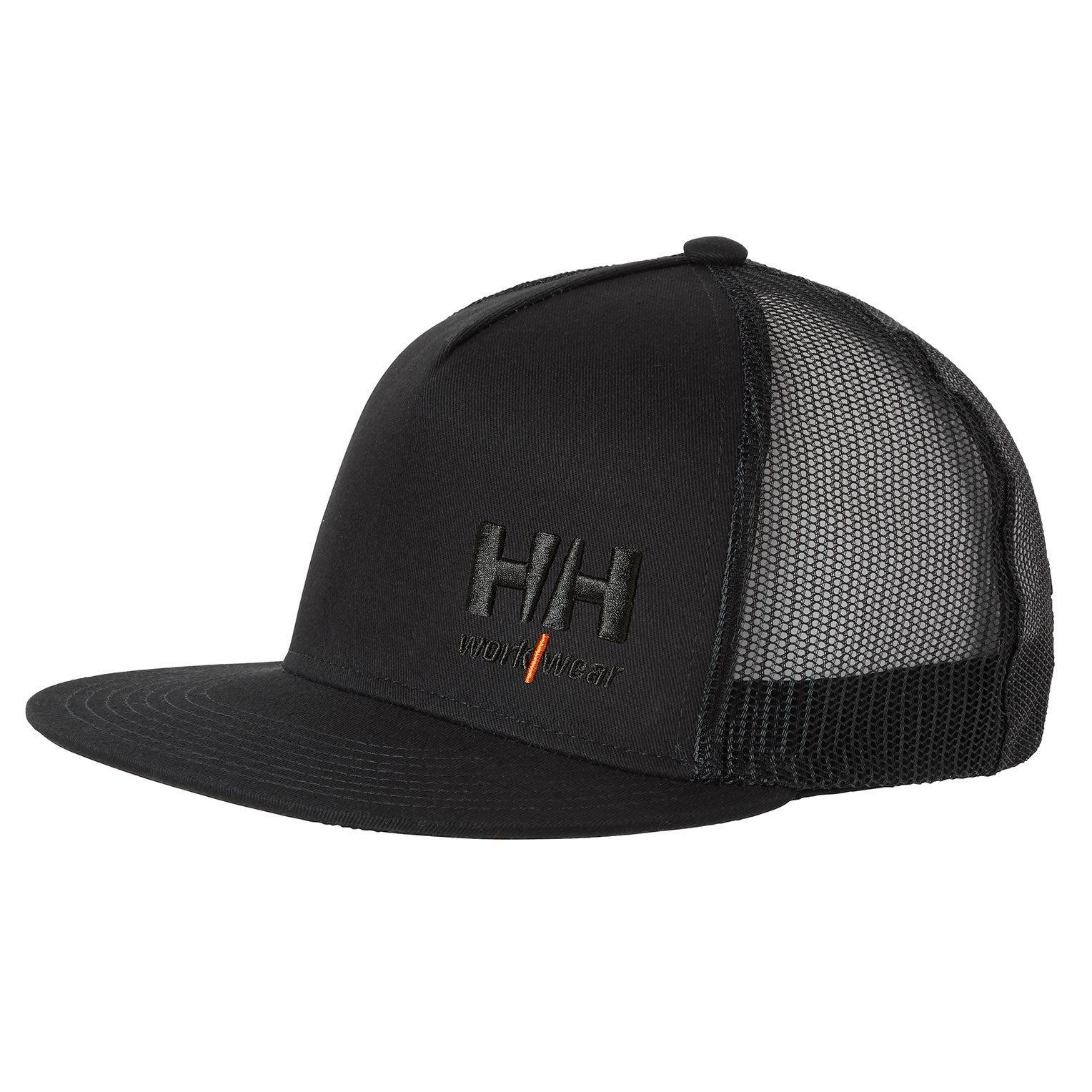 HH Workwear Helly Hansen WorkwearKensington Flat Full Crown Trucker Hat Black STD