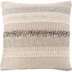 "Hauteloom ""Harrisville 20"""" x 20"""" Square Pillow Cover Bohemian/Global 53% Wool/28% Viscose/10% Jute/9% Cotton/100% Cotton Cream/Medium Gray/Ivory/Camel Pillow Cover - Hauteloom"""
