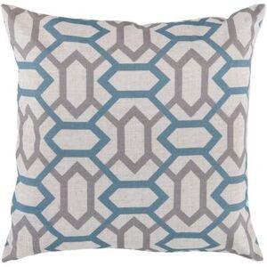 "Hauteloom ""Delmita 18"""" x 18"""" Square Pillow Cover Transitional 100% Polyester Cream/Teal/Medium Gray Pillow Cover - Hauteloom"""