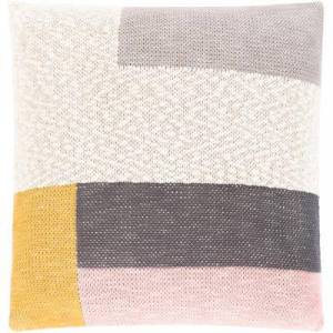 "Hauteloom ""Yellowtail 18"""" x 18"""" Square Pillow Cover Modern 100% Cotton/100% Cotton Saffron/Pale Pink/Cream/Medium Gray/Charcoal Pillow Cover - Hauteloom"""