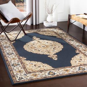 Hauteloom Waveland 8' x 10' Rectangle Traditional 100% Wool Charcoal/Cream/Camel/Dark Brown/Khaki Area Rug - Hauteloom
