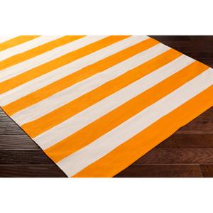 "Hauteloom ""Gunpowder 2'6"""" x 12' Runner Transitional 100% Cotton Bright Orange/Cream Runner - Hauteloom"""