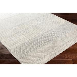 "Hauteloom ""Nunda 6'7"""" Round Global 100% Polypropylene Silver Gray/Medium Gray/Cream Area Rug - Hauteloom"""