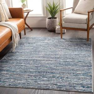 "Hauteloom ""Bowmansdale 6'7"""" Square Transitional 100% Polypropylene Navy/Sky Blue/Charcoal/Light Gray/White Area Rug - Hauteloom"""
