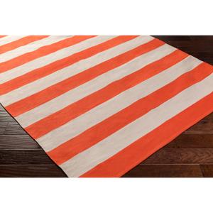 "Hauteloom ""Fowey 2'6"""" x 12' Runner Transitional 100% Cotton Bright Orange/Cream Runner - Hauteloom"""