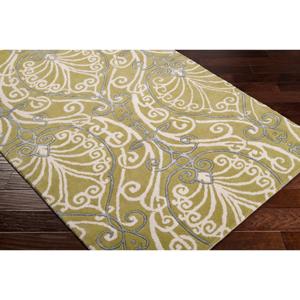 Hauteloom Brookland 5' x 8' Rectangle Transitional 80% Wool/20% Viscose Lime/Cream/Charcoal Area Rug - Hauteloom