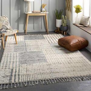 "Hauteloom ""Plean 8'10"""" x 12' Modern 100% Wool Cream/Taupe/Medium Gray/Dark Brown/Denim Area Rug - Hauteloom"""