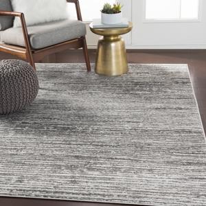 "Hauteloom ""Oshkosh 6'7"""" Square Transitional 100% Polypropylene Light Gray/White/Charcoal Area Rug - Hauteloom"""