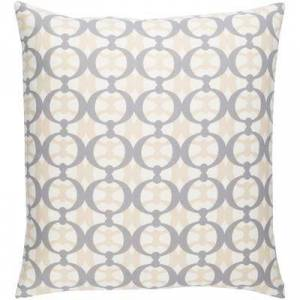 "Hauteloom ""Deagon 20"""" x 20"""" Square with Down Insert Modern 100% Cotton/100% Cotton Cream/Medium Gray/Beige Pillow Kit - Hauteloom"""