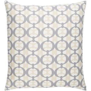 "Hauteloom ""Deagon 20"""" x 20"""" Square with Down Insert Modern 100% Cotton/100% Cotton Cream/Medium Gray/Beige Pillow Kit - Hauteloom"""
