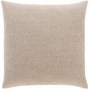"""Hauteloom """"Lockland 18"""""""" x 18"""""""" Square Pillow Cover Solid & Border 45% Polyester/45% Wool/10% Nylon/45% Polyester/45% Wool/10% Nylon Taupe/Beige Pillow Cover - Hauteloom"""""""