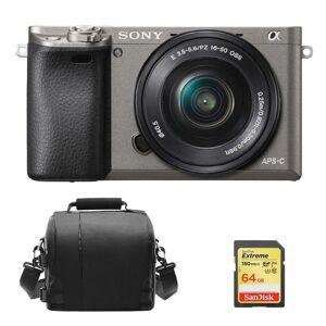Sony A6000 Grey KIT SEL 16-50MM F3.5-5.6 OSS Black + 64GB SD card+Bag