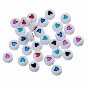 Beadz Galore, t/a Giftz Galore Ltd Pack of 100 Round White Heart Beads - Mixed Colours