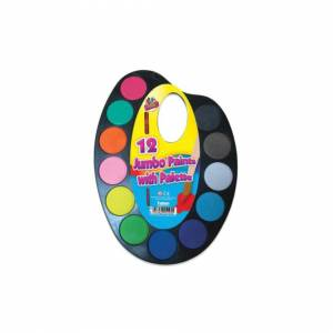 The Home Fusion Company 12 Jumbo Colours Water Paint Set with Paint Brush On Palette Kid Craft Set