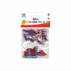 The Home Fusion Company 40 x Coloured Small Wooden Craft Mini Pegs Card Making Kids Craft Photo Clips