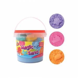 The Home Fusion Company Sand Magic Play 1kg Play Tub Set Sand 6 Moulds Kinectic Squeeze Sand
