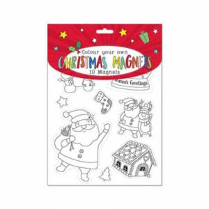 The Home Fusion Company 10 Colour Your Own Christmas Magnets & Crayons Set Plus Stickers