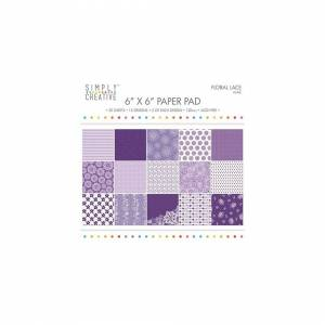 Creative Labs Simply Creative FSC Paper Pad 6x6 Inch Floral Lace-Purple