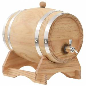 vidaXL Solid Pinewood Wine Barrel with Tap 6L Whiskey Drink Cask Container