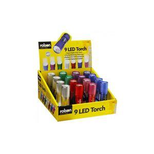 Rolson 61693 9 LED Aluminium Torch - Colours Vary